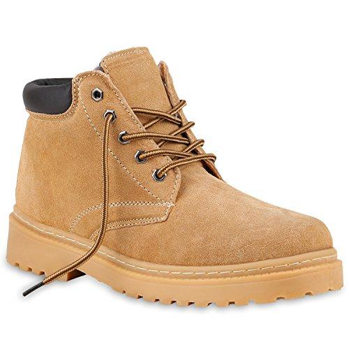 Worker Boots Herren Outdoor Schuhe Echt Leder Warm Gefüttert Hellbraun