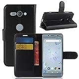 3d7565e4105 ECENCE Funda para el Sony Xperia XZ2 Compact Libro Cover Wallet Case-s  Bolsa Negro