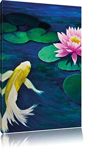 Koi mit Seerose Kunst , Format: 80x120 auf hochkantiges Leinwand, XXL riesige Bilder fertig gerahmt mit Keilrahmen, Kunstdruck auf Wandbild mit Rahmen, günstiger als Gemälde oder Ölbild, kein Poster oder Plakat