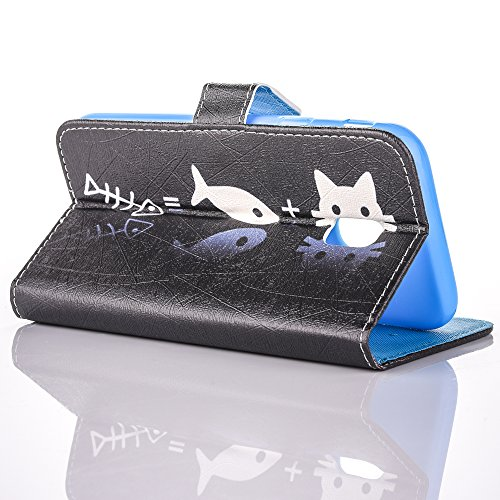 Custodia Galaxy J3 2017, ISAKEN Flip Cover per Samsung Galaxy J3 2017, Elegante borsa Bookstyle Design Flip Caso in Sintetica Ecopelle PU Pelle Protettiva Portafoglio Wallet Case Cover con Supporto di gatto pesce
