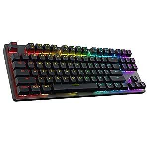 DREVO Tyrfing 87-Key V2 Mechanische Tastatur ohne NumPad - Anpassbare RGB-Hintergrundbeleuchtung, Macro-Programmierung, MediaControl Software-Unterstützung - US Layout [Blauer Schalter, Schwarz]