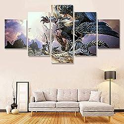 Muraon Monster Hunter Wandkunst Malerei 5 Panels Leinwand Wanddekor Bild für Wohnzimmer Dekoration Poster Gemälde @ 40X60 40X80 40X100cm_Framed