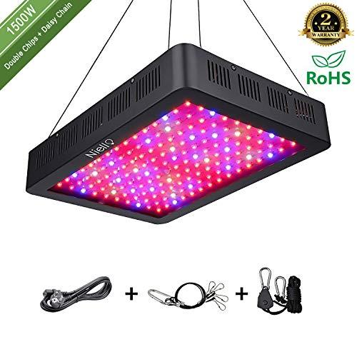 Niello 1500W LED Pflanzenlampe Doppel-10W-Chips LED Grow Light Vollem Spektrum LED Wachstumslicht 150 LEDs Pflanzenlicht Grow Lamp mit UV & IR und mit Rope Hanger für Zimmerpflanzen,Gemüse und Blumen