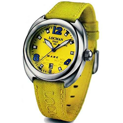 Watch Locman mare titanium 013200 G Quartz (Rechargeable) quandrante Yellow Fabric Strap
