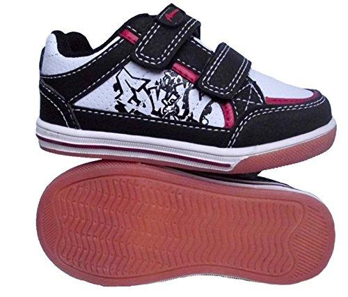 American Club Jungen Sneaker Halbschuhe Freizeitschuhe Schwarz Weiß Rot Klettverschluss Schwarz
