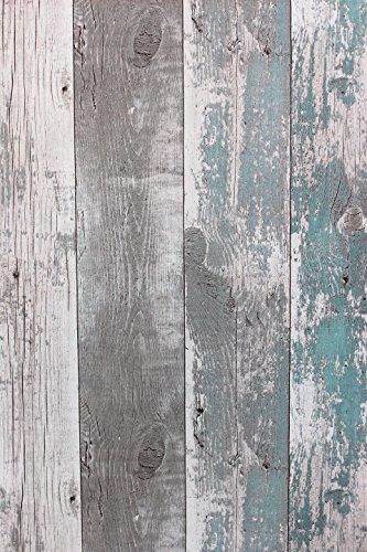 Carta da parati in tessuto non tessuto effetto legno rustico esseretutta moscia petrol grigio Boiserie 68616