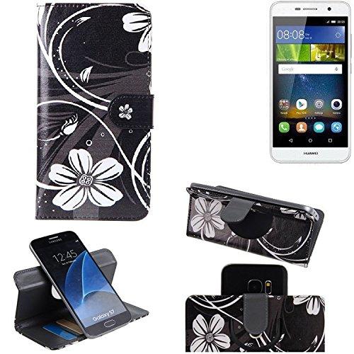 K-S-Trade Schutzhülle für Huawei Y6Pro LTE Hülle 360° Wallet Case Schutz Hülle ''Flowers'' Smartphone Flip Cover Flipstyle Tasche Handyhülle schwarz-weiß 1x