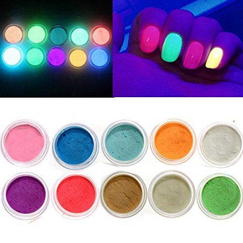 EgBert 10 Farben Glow In The Dark Nagel Fluoreszierende Tattoo Acryl Pulver Dekoration (Dark Tattoo The In Glow)
