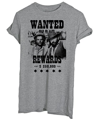 T-Shirt WANTED TERENCE HILL BUD SPENCER WESTERN - CINEMA - by iMage - Uomo-XL-Grigia