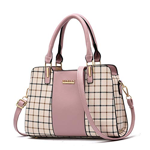 LFGCL Bags womenPu Female Bag Check Bag Mutter Handtasche Umhängetasche, Pink
