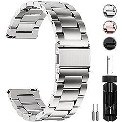 Fullmosa 14mm/16mm/18mm/19mm/20mm/22mm/24mm Bracelets de Montre en Acier Inoxydable, Band/Bracelet Remplacement Dégagement Rapide pour Homme/Femme, 20mm Argenté