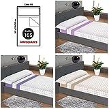 """ADP Home - Juego de sábanas 3 piezas """"minisquares"""" (funda de almohada, bajera ajustable y sábana encimera), cama de 105 cm"""