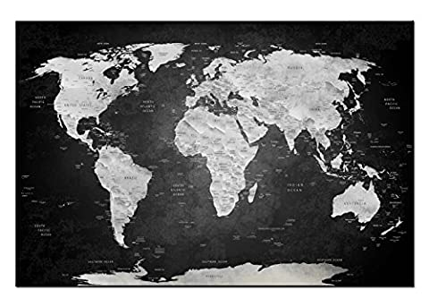 Dsign24 CARTE DU MONDE Impression sur Toile / Photo murale 150 x 100 cm – Wall Art, Artwork,Globe Earth Planet CAMAIEU Style A05047