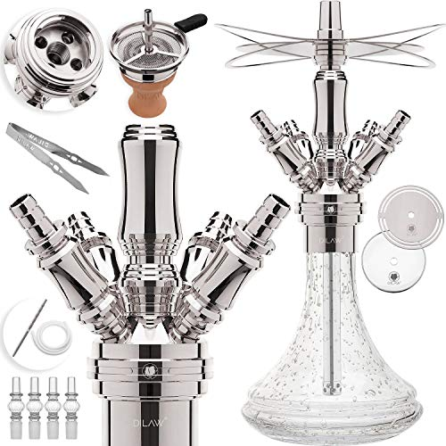 DILAW® Smart Shisha Edelstahl V2A Komplettset 38cm Hookah | Mini | to go ✔+ Glas Kohleteller | 4 Anschlüsse Adapter | Wasserpfeife | Base Closed Chamber | Kaminkopf Silikonschlauch Tabakkopf Glow