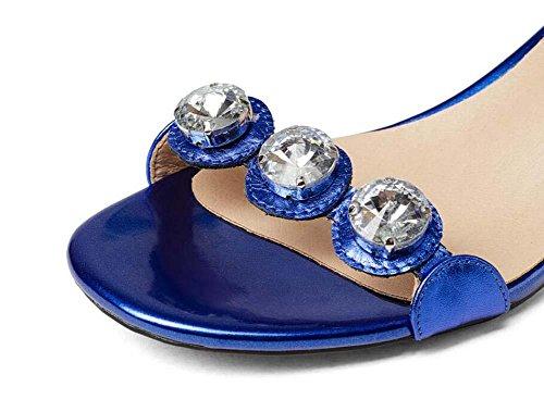 Onfly Donne Semplice Pelle di bovini Sandali Aprire il piede Diamante Cinturino alla caviglia Tacchi alti Tacchi alti Sandali Silver