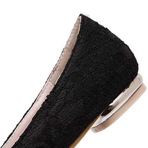 VogueZone009 Femme Tire Matière Mélangee Pointu à Talon Bas Mosaïque Chaussures Légeres Noir