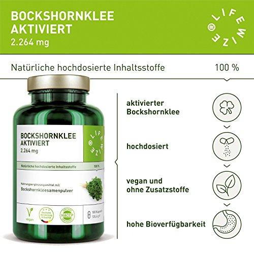 LifeWize Bockshornklee Kapseln Aktiviert – 2.264 mg Bockshornkleesamen (Fenugreek) – 180 Kapseln – Hochdosiert, Vegan & Ohne Zusatzstoffe