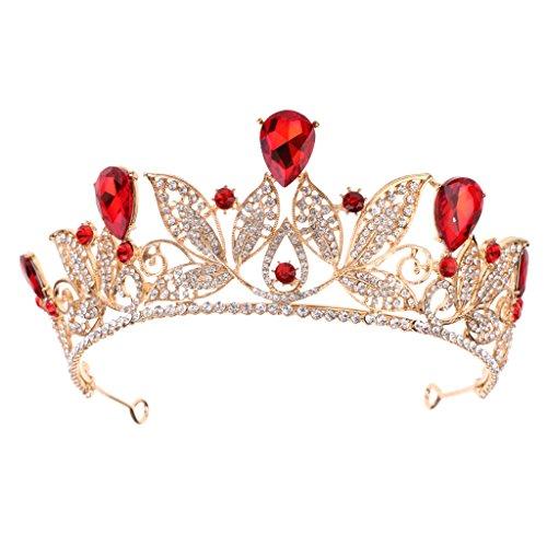 MagiDeal Rote Wassertropfen Kristall Barock Tiara Krone Hochzeit Party Braut (Prinzessin Gold Crown Und Rot)