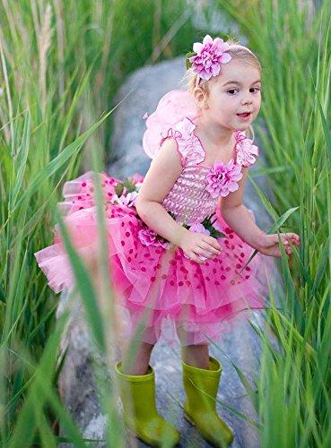 Disfraz vestido de flores Hada Rosa con alas Talla S (3 - 4 años)