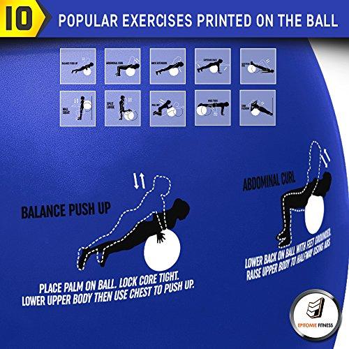 Active Balance Swiss Ball – Robuster Gymnastikball mit gedruckten Übungen & Trainings-eBuch - Der beste Trainingsball für Yoga, Stabilitätsübungen & Pilates. Auch als Sitzball verwendbar - 2
