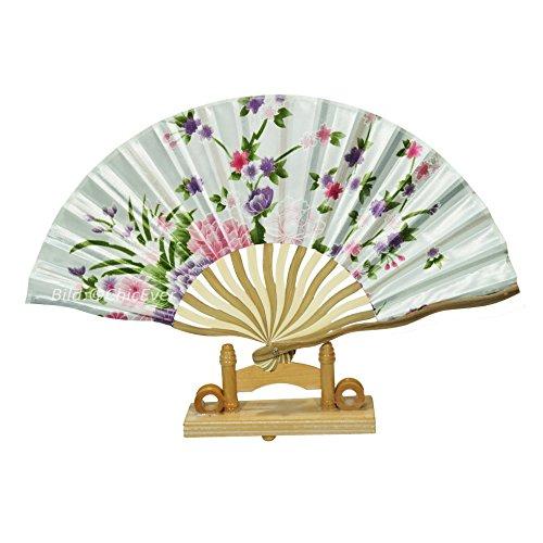 ChicEver Schöner Fächer/Handfächer aus Bambus & Seide in braun weiß lila rosa, Blumen, Handarbeit, 6912