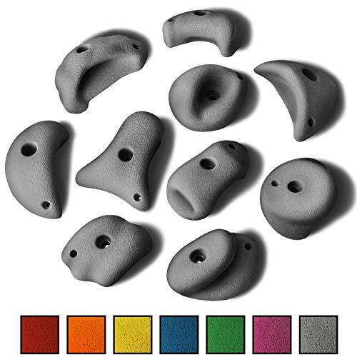 ALPIDEX 10 XL/MEGA Henkel Klettergriffe im Set verschieden Geformte Henkelgriffe/Taschen in vielen Farben, ergonomische, kantenfreie Oberflächen, guter Grip, Farbe:Grey Stone -