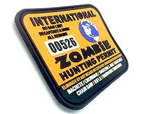Permis de Chasse de Monde Zombie International Orange PVC Grand Airsoft Velcro Patch