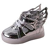 Sunching Kleinkind Jungen Mädchen LED Turnschuhe leuchten Schuhe mit Engels Flügeln Silber Größe 25