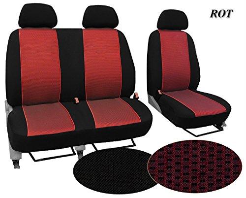 Preisvergleich Produktbild Maßgefertigter Sitzbezug, Modellspezifischer Sitzbezug Fahrersitz + 2er Beifahrersitzbank Für Fiat Ducato III. Super Qualität, STOFFART VIP. In diesem Angebot ROT (Muster im Foto).