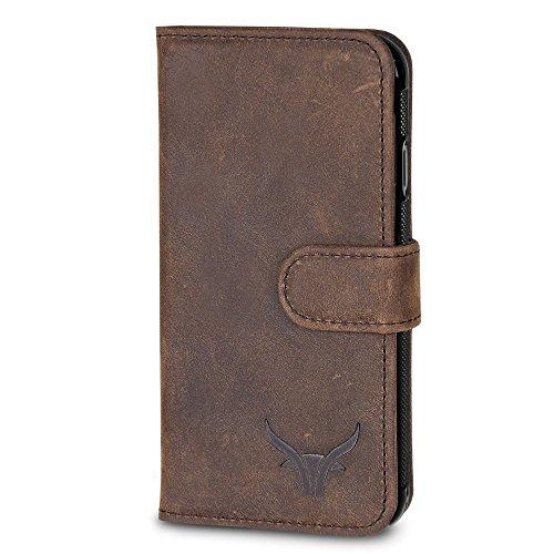 GAZZI Samsung Galaxy S9 Hülle Leder Case BookCase WalletCase Ledertasche Lederhülle Handytasche Handyhülle Echt Leder, Rundumschutz, Unzerbrechliche Schale, VINTAGE BRAUN