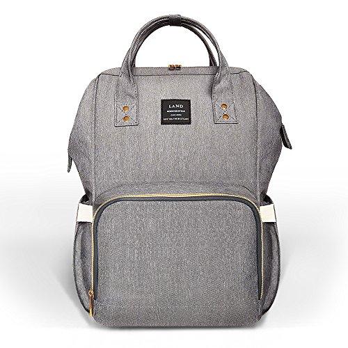 Baby Wickeltasche Rucksack, Multifunktions, leicht wasserdichte Reise Rucksack Still Windel Taschen, große Kapazität, stilvolles und robustes, grau