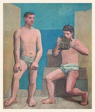 Pablo Picasso Panfloeten Poster Bild Kunstdruck Lichtdruck im Holz Rahmen in Ahorn weiss lasiert 79x66,2cm