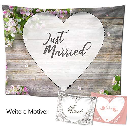 Dein Hochzeitslaken - Hochzeitsherz zum Ausschneiden mit liebevollem Motiv (240x180 cm, Blütenholz)