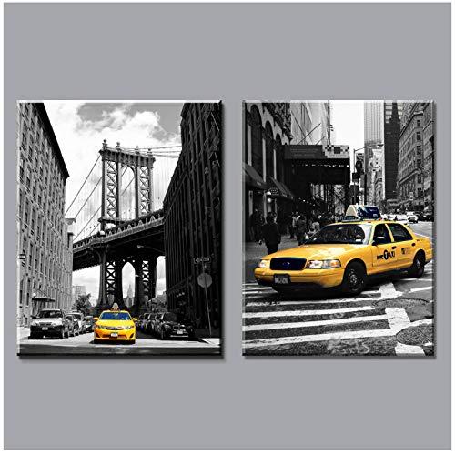 derne Schwarz Und Weiß Gelb Taxi Leinwand Malerei Drucke New York City Auf Wandkunst Bilder Wohnkultur Für Wohnzimmer 50X70 Cmx2 Kein Rahmen ()
