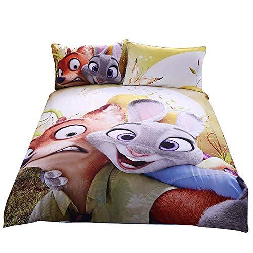 Kinderbettwäsche-Set 3D Mad Animal City Bettbezug Witz 3pcs gedruckt Bettbezug 1 Bettbezug + 2 Kissenbezüge,Queen - City Queen-bett