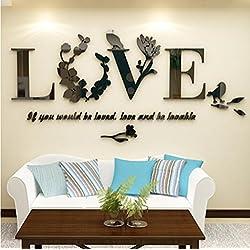 Longless Habitación de matrimonio, decoración, cabecera, fondo, acrílico, cristal, tridimensional, pegatinas de pared, amor, dormitorio, pegatinas de pared