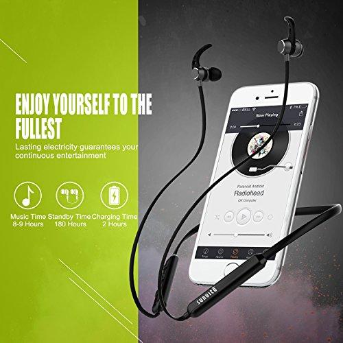 Sunvito Bluetooth Auriculares Intrauditivos Inalámbricos para Deportes  Estéreo con Micrófono y Anti Sudor Auriculares Reducción de Ruido con Conexión Magnética con Banda para el Cuello Funciona para iPhone   los Móviles de Android y iPad