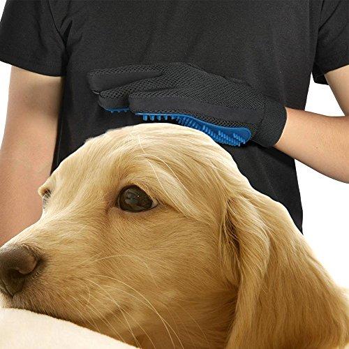 TINDERALA 2Stk. Profi Fellpflege-Handschuh Bürste Haustier Massagehandschuh für Pferde Hunde Katzen Entspannte Fellpflege Striegel Bürsten Pflegenbürste Fellwechsel Pferdebürste Putzhandschuhe (Blue) - 6