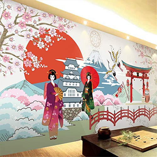 (zyyaky Wallpaper Ukiyo-E Pilger Retro Nostalgie Restaurant Nahtlose Wandbild Kochen Sushi Schuhe Club Wallpaper)