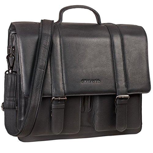 STILORD \'Marius\' Klassische Lehrertasche Leder Schultasche XL groß Aktentasche zum Umhängen Businesstasche Laptoptasche echtes Rindsleder, Farbe:schwarz