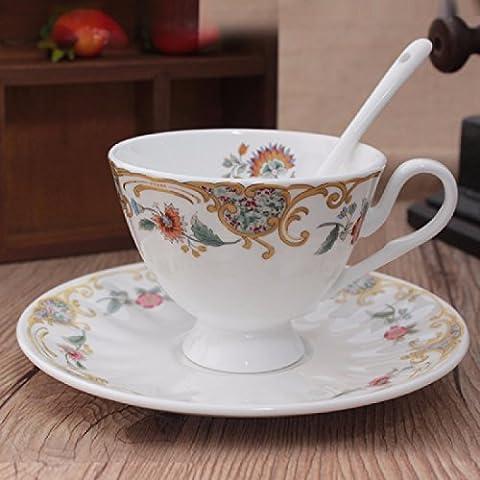 KHSKX Alta bone china tazza da caffè Continental Cup set tazza da caffè con piattino set con cucchiaio combinazione in stile inglese red Cup,un