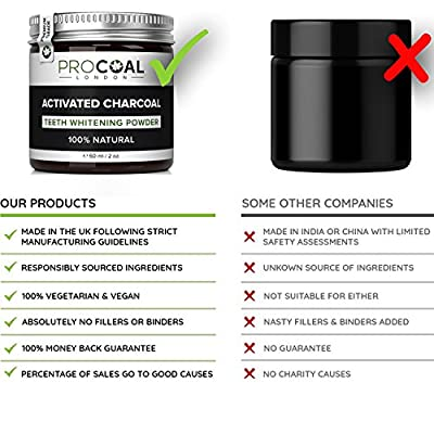 Activated Charcoal Natural Teeth Whitening Powder by PROCOAL (Premium Grade Activated Charcoal) - Made in UK, 100% Natural, Vegan, Cruelty-Free & Fluoride-free 60ml per unit