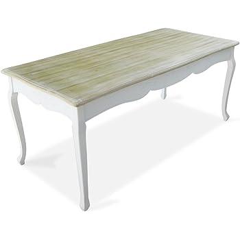Esstisch Shabby Chic Landhaus Stil Weiss Holz Vintage Tisch ...
