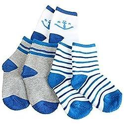 3 Pares Bebé Calcetines Algodón - Niños Niñas Cómodo Suave Gruesos Calcetines Absorben el Sudor Otoño de Invierno Calentar Conjunto Calcetines Unisex Anclas Azules 4-7 Años