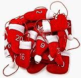 Weihnachts Filz Weihnachtsbaumschmuck Christbaumschmuck Adventsanhänger Adventskalender Anhänger 1-24 Mützen / Handschuhe / Stiefel weinrot-weiß