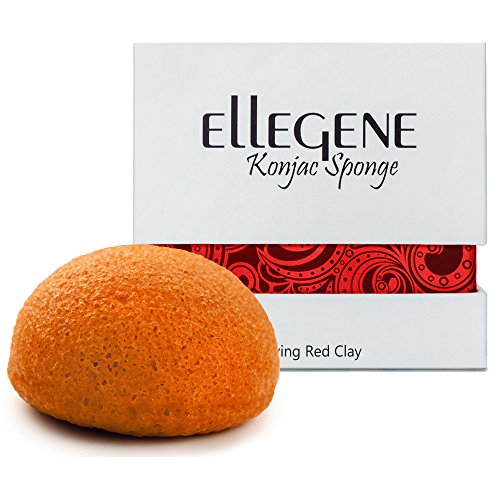 Ellegene Konjac Facial Sponge- 100% Natural- Ideal for Sensitive, Oily & Acne Prone Skin- Gentle Facial Scrub for deep cleansing & exfoliation! ... (Living Red Clay)