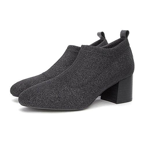 WYYY Damenschuhe High Heels Flash-Tuch Rauh mit Tiefer Mund Quadratischer Kopf Arbeitsschuhe Freizeitschuhe 5,5 cm (Größe : EU38/UK5.5)
