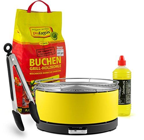 Mayon Feuerdesign Holzkohle Tischgrill, GELB, inkl. 2,5kg Grillkohle und 1L Brennpaste