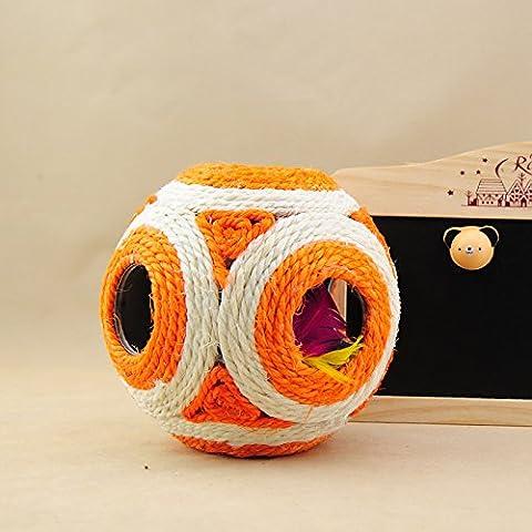REDIAN Topi di sisal naturale dentro il scratchers palla sei fori per animali giocattoli del gatto