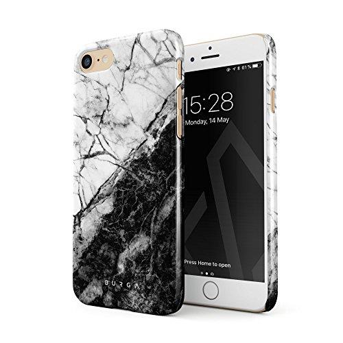 Weißer Marmor (BURGA Hülle Kompatibel mit iPhone 7 / iPhone 8 Handy Huelle Weiß Und Schwarz Marmor Muster Marble Yin Und Yang Dünn, Robuste Rückschale aus Kunststoff Handyhülle Schutz Case Cover)